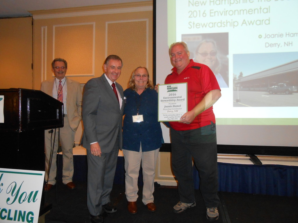 John Dumais (L) and Ray Dube (R) of NH the Beautiful, Inc. present Joanie Hamel (Center) of Derry with the 2016 Environmental Stewardship Award.  Mike Durfor of NRRA (far Left) looks on.
