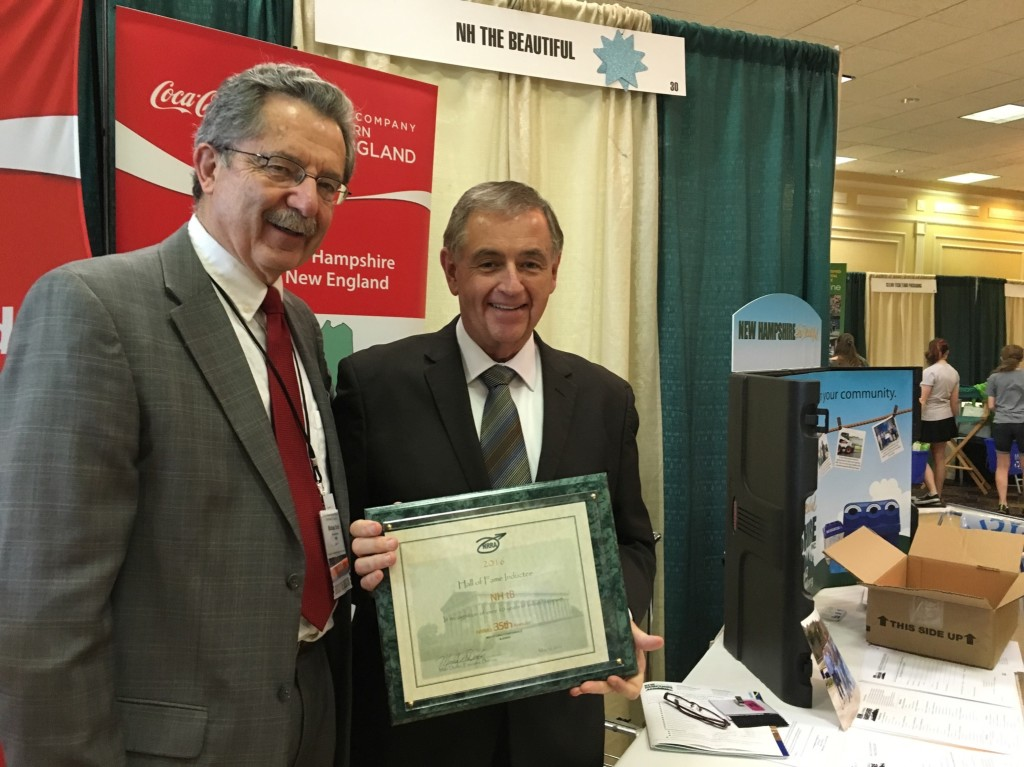 Mike Durfor, Executive Director of NRRA presents John Dumais, President of the NH the Beautiful Board of Directors with an Exhibitor Hall of Fame award at the 35th Annual NRRA Conference & Expo in Nashua, NH.